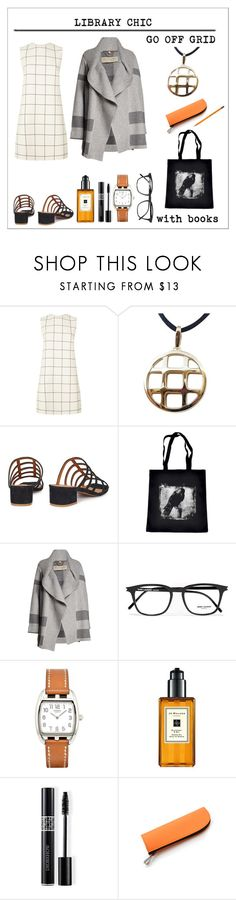 """""""Off Grid"""" by onenakedewe ❤ liked on Polyvore featuring Valentino, Cartier, by FAR, Burberry, Yves Saint Laurent, Hermès, Jo Malone, Christian Dior, books and librarychic"""