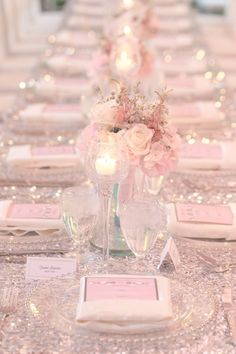 Featured Photographer: Amalie Orrange Photography; Glamorous sparkly light pink wedding reception with perfect pink rose centerpieces