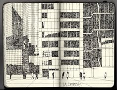 Sketchbook inspiration: Ian Sidaway - Made In Slant Moleskine Sketchbook, Artist Sketchbook, Sketchbooks, Architecture Sketchbook, Architecture Design, Artist Journal, This Is A Book, Building Art, Urban Sketchers