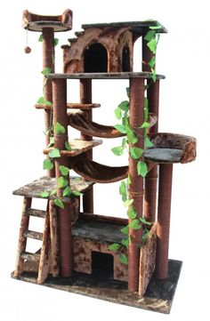 How To Make Your Own Cat Tower or Cat Tree Good guidelines for making a cat tower. I want to try using old furniture for the caves and driftwood for support.
