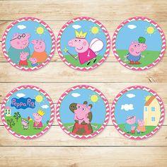 Peppa Pig Cupcake Toppers Rosa Chevron / / por ApothecaryTables