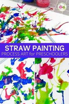Blow painting with straws is an exciting and creative process art project for kids.  Your kids will love these straw blown paintings!.  Straw painting is an easy art project for kids in preschool, pre-k or a home.  Make monsters, ocean coral, germs, peacock or just let them create open-ended art.  Paint on canvas or paper....includes ideas for experimenting. Process Art Preschool, Preschool Painting, Preschool Art Projects, Easy Art Projects, Painting For Kids, Color Activities, Autumn Activities, Straw Art For Kids, Farm Lessons