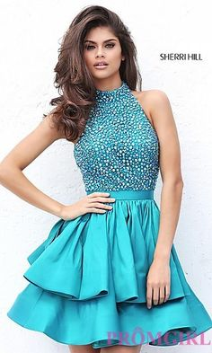 Shop short prom dresses and short formal gowns at PromGirl. Short prom dresses, formal short dresses, semi-formal short dresses, short party dresses for prom, and short dresses for prom Sherri Hill Short Dresses, Sherri Hill Homecoming Dresses, Cute Prom Dresses, Long Prom Gowns, Junior Dresses, Party Dresses, Formal Dresses, Dress Party, Halter Dresses