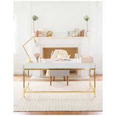 Sugar Paper Writing Desk (£305) ❤ liked on Polyvore featuring home, furniture, desks, white writing table, white furniture, colored furniture, white writing desk and white gold desk