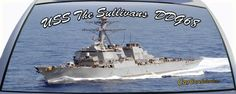 USS The Sullivans is DDG68 a US Navy destroyer ship on a rear window graphic mural.