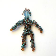 Beaded People Pin  Bead People  Wire Wrapped Pin by playnwithbeads