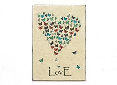 Rétro bois Wall Art amour papillons 8 x 12 20 par DejaVuPrintStore