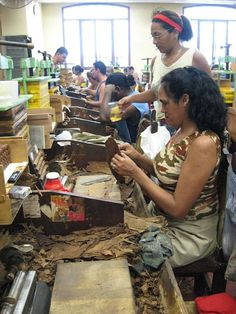 H.Upmann, old cigar factory in (Havana) Cuba.  Rollers table