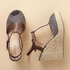 """LOREN ESPADRILLE--T-straps and peeptoes make these sandals top choice for summer. Canvas upper with leather ankle straps, atop a jute-wapped 4"""" wedge on 1"""" platform. Imported. Whole and half sizes 5-1/2 to 10, 11."""