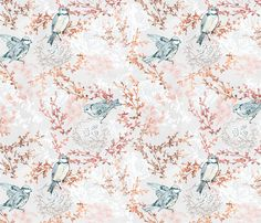 Bluebirds (rose gold) fabric by nouveau_bohemian on Spoonflower - custom fabric
