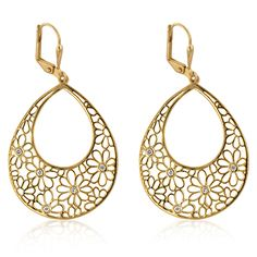 14 K Gold bonded floral drop earrings  | Jewelry4theheart - Jewelry on ArtFire  $36
