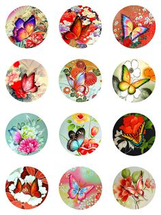 Butterflies Asian Florals Collage Sheet Digital por pixeltwister