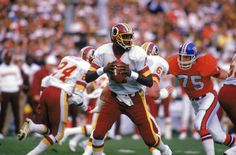In 1986 Doug Williams of the Washington Football Club was removed a year after he won the Super Bowl and won the MVP of that record breaking game. Description from blackathlete.net. I searched for this on bing.com/images
