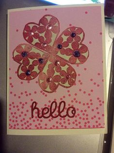 Handmade greetings card Hello hand stamped and liquid