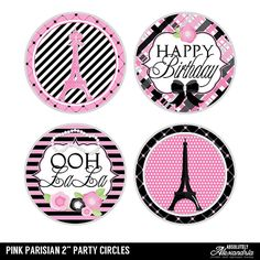 Pink Parisian Digital 2 Two Inch Party Circles Girls Paris Themed Birthday Party, Paris Party, Birthday Party Themes, Parisian, Circles, Diva, Party Ideas, Digital, Unique Jewelry