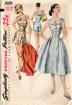 Vintage Swimsuit Sewing Pattern Simplicity 1609 Misses' Playsuit and Skirt by DRCRosePatterns on Etsy 1950s Style, Vintage Outfits, Vintage Dresses, Vintage Dress Patterns, Clothing Patterns, 1950s Fashion, Vintage Fashion, Fashion 101, Gothic Fashion