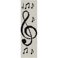 Music Clef & Notes Peyote Bead Pattern, Bracelet Cuff, Bookmark, Seed Beading Pattern Miyuki Delica Size 11 Beads - PDF Instant Download Pattern is designed with Miyuki Delica seed beads size 11/0. You may change any colors and use any beads you wish. INFO FOR THIS PATTERN: Length: 6.85in (99 rows) 17.40cm Width: 1.91in (36 columns) 4.85cm Colors: 2 Technique: even peyote THIS PDF PATTERN DOWNLOAD INCLUDES: COLOR IMAGE OF THE PATTERN CUSTOM BEAD LEGEND; shows the bead color, the ...