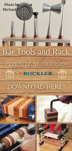 This kit is perfect for your favorite woodworker to make--or to make to give to your favorite bartender! Whatever the occasion, give the gift of handmade gifts this holiday season.  #createwithconfidence #freewoodworkingplan #bartools #bartoolrack #freerocklerplan Lathe Tools, Wood Lathe, Bar Tools, Beginner Woodworking Projects, Diy Woodworking, Lathe Accessories, Tool Rack, Diy Gifts, Handmade Gifts