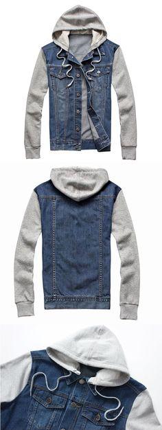 Mens Fashion Jackets: Detachable Hood /Denim /Cotton