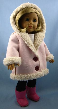 American Girl Doll Clothes  - Hooded Jacket in Pink Sherpa Suede. $20.00, via Etsy.