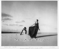 max dupain photo of his future wife, photographing a fashion shoot, bondi beach. 1957....
