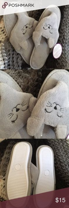 Kitty summer slippers Brand new for you!  Gray slippers in flip-flop style with cute kitty faces!!  🐱  Perfect for summer comfiness!!  Size 9.  From a smoke-free home.  (Check out the Free with Purchase listings in my closet too!) Shoes Slippers