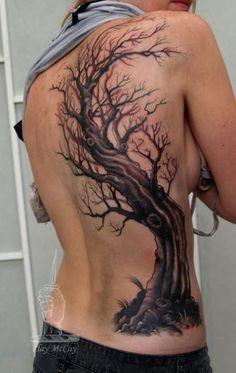 Pretty Tree Tattoo on Back