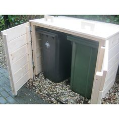 """DIY Project Inspiration - Not sure the pin links to a tutorial. Trash & Recycle Bin """"Shed"""" with easy to open top and easy to remove canisters. Garbage Shed, Garbage Storage, Shed Storage, Storage Bins, Outdoor Spaces, Outdoor Living, Outdoor Decor, Outdoor Projects, Home Projects"""