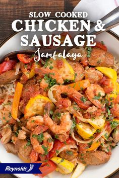 Full of veggies, smoked sausage, chicken, and shrimp, this Slow Cooker Chicken and Sausage Jambalaya is a simple and tasty meal the whole family will enjoy! Use a Reynolds Slow Cooker Liner for fast and easy cleanup in 8 seconds or less, guaranteed, with no soaking or scrubbing. Then toss in the ingredients and let your slow cooker do the rest!