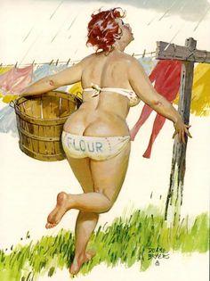 Hilda - running with basket to take in laundry, raining