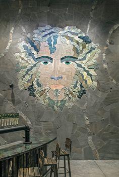Stone mosaic by Marc Archambault.