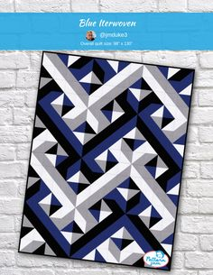 modern quilting designs Baby Interwovem Blues - custom quilt designed by using PatternJam quilt design software 3d Quilts, Blue Quilts, Patchwork Quilting, Scraps Quilt, Bargello Quilts, Amish Quilts, Star Quilts, Barn Quilt Patterns, Modern Quilt Patterns