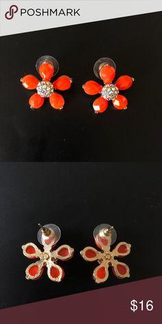 j crew orange flower earrings worn once! perfect condition! 🍊 J. Crew Jewelry Earrings