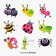 Insecte   Vecteurs, Photos et PSD Gratuits Banana Party, Pencil Drawings Of Flowers, Printable Adult Coloring Pages, Animal Silhouette, Color Pencil Art, Creative Logo, Whimsical Art, Cute Illustration, Preschool Crafts