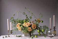 Wild roses and figs centerpiece by Sarah Winward.