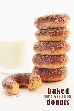 Baked Maple & Cinnamon Donuts  Ingredients    1 cup all-purpose flour  3/4 teaspoon baking powder  3/4 teaspoon baking soda  pinch of salt  1 egg (lightly beaten)  1/3 cup buttermilk  1 tablespoon canola oil  2 teaspoon lemon juice  2 1/2 tablespoon real maple syrup  Topping  2 tsp cinnamon  1/2 C sugar  4Tbsp butter (melted)