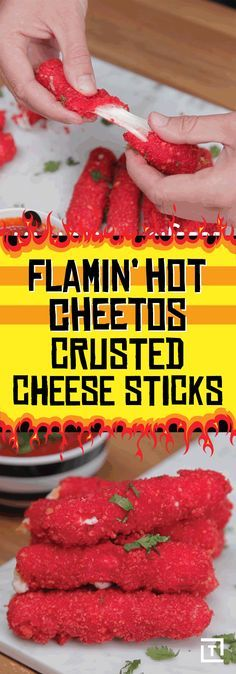 Food Steez is taking your favorite snack up a level by coating cheddar cheese sticks in the spicy cheese puff crumbs, and frying them up to crispy, cheesy perfection. Dip the Flamin' Hot Cheetos-crusted cheddar in marinara for the full flavor experience.