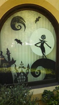 Nightmare Before Christmas Halloween window scene. Copied from another pin. Love how it turned out!
