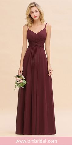 Burgundy Spaghetti-Straps Long Chiffon Affordable Bridesmaid Dresses Online - BMbridal offers colors and more than trendy styles for you to choose from. Available in full size & Custom measurements. Source by bmbridal - Burgundy Bridesmaid Dresses Cheap, Affordable Bridesmaid Dresses, Bridesmaid Dresses Online, Wedding Bridesmaid Dresses, Prom Dresses, Chiffon Dresses, Long Dresses, Cheap Dresses, Custom Made Prom Dress