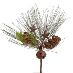Winter Rustic Stars, Sleigh Bell Pine Spray - Holiday Florals - Christmas and Winter - Holiday Crafts