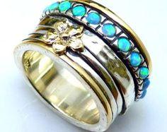 9K Gold 925 Silver OpalFloral Spinner Ring by yoelsjewlery on Etsy