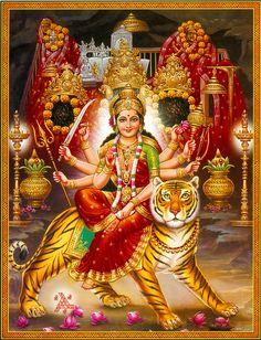 Goddess Durga (via Dolls of India) Shiva Art, Shiva Shakti, Hindu Art, Krishna Art, Navratri Puja, Happy Navratri, Navratri Wishes, Durga Ji, Maa Durga Image