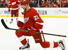 Tomas Tatar is celebrating his goal Detroit Red Wings, Ice Hockey, Goals, Baseball Cards, Celebrities, Sports, Hs Sports, Celebs, Sport