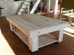 Montez une belle table basse style brut avec le bois des traverses de palette