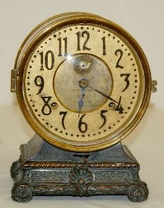 """Seth Thomas """"Grand"""" 8 Day Long Alarm Clock: has pendulum and key; on Feb 2012 Old Watches, Vintage Watches, Pocket Watches, Clock Antique, Vintage Clocks, Sistema Solar, Tick Tock Clock, Time And Tide, Mantel Clocks"""
