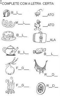 Atividades para Alfabetização - Complete com a letra certa