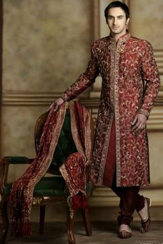 The Sherwani is the most royal outfit for an Indian male. The roots of Sherwani date back to the fifteenth century when the Mughal emperors existed. The Sherwani belongs to India.