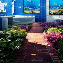 Chão do banheiro personalizado 3D mural papel de parede de moda antiderrapante impermeável espessamento auto-adesivo de PVC papel de parede murais(China (Mainland))