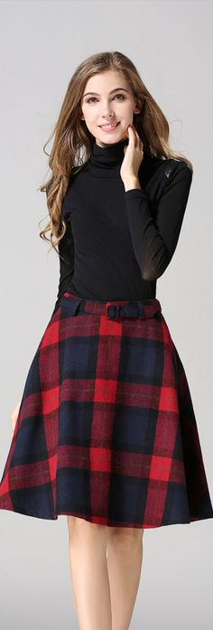 $23.99 Lovely Red Plaid Belted Flared Skirt, Size:2/4/6/8/10