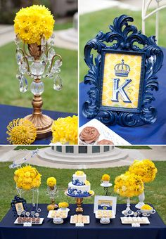 Blue and yellow decorations. Wedding shower ideas...hmmm we could do yellow and brown!!!